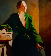 Figure Study Pastels Prints - Green Jacket Print by Susan Tammany