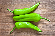 Hot Peppers Framed Prints - Green jalapeno peppers Framed Print by Tom Gowanlock
