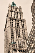 Woolworth Building Framed Prints - Green Framed Print by JC Findley