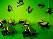 Lime Metal Prints - Green Lego Flies Metal Print by Amy Cicconi