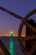 Machinery Photo Framed Prints - Green Lighthouse Framed Print by Semmick Photo