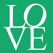 Words Background Prints - Green Love Print by Nomad Art And  Design