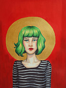 Eyeliner Metal Prints - Green Metal Print by Lucy Stephens