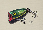 Angling Drawings Originals - Green Lure by Aaron Spong