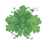 Green Foliage Drawings Prints - Green Man Print by Jennifer Slouha