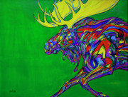 Rack Paintings - Green Mega moose by Derrick Higgins