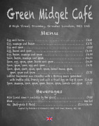 Eric Idle Posters - Green Midget Cafe Chalkboard Menu Poster by Robert J Sadler