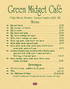 Eric Idle Posters - Green Midget Cafe Menu Parchment Poster by Robert J Sadler