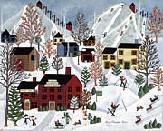 Skiing Art Painting Posters - Green Mountain Fun Poster by Medana Gabbard