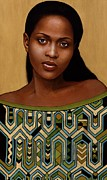 African American Paintings - Green Muse by Carla Nickerson