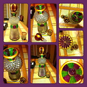 Painted Glass Art - Green n Purple by Rae Chichilnitsky