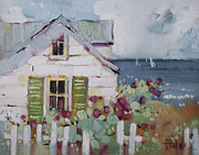 Coastal Oil Paintings - Green Nantucket Shutters by Joyce Hicks