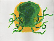 Green Monster Paintings - Green Octopus Baby Frankenstien by Omar Aviles