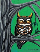 Wildlife Art Greeting Cards Posters - Green Owl Poster by Genevieve Esson