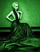 Long Blonde Hair Prints - Green Print by Pamela White