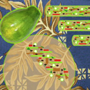 Cookbook Prints - Green Papaya Rolls with Grilled Flank Steak Print by James Temple