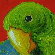 Parrot Print Paintings - Green Parrot by Paris Wyatt Llanso