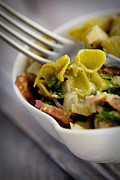 Green Pasta With Vegetables Print by Mythja  Photography