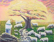 Prayer Shawl Paintings - Green Pasture  by Carey MacDonald