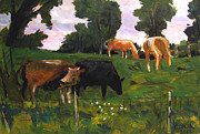Plein Air Metal Prints - Green Pastures Roann Metal Print by Charlie Spear