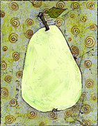 Kitchen Decor Framed Prints - Green Pear Art With Swirls Framed Print by Blenda Studio