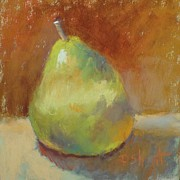 Donna Shortt Painting Metal Prints - Green Pear Metal Print by Donna Shortt