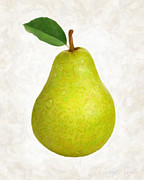 Pear Prints Framed Prints - Green Pear isolated Framed Print by Danny Smythe