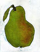 Pear Art Painting Framed Prints - Green Pear on White Framed Print by Blenda Studio