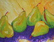 Paris Wyatt Llanso Prints - Green Pears Print by Paris Wyatt Llanso