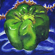 Susan Herbst - Green Pepper on Blue Tile