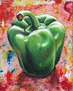 Vegetables Paintings - Green Pepper by Sheila Diemert