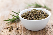 Peppercorns Prints - Green Peppercorns Print by Corinna  Gissemann