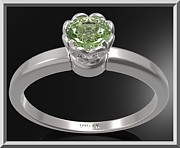 Nature Inspired Jewelry - Green Peridot Sterling Silver Engagement Ring - Delicate Flower Ring by Roi Avidar