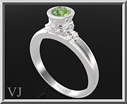 Custom Ring Jewelry - Green Peridot Sterling Silver Engagement Ring by Roi Avidar