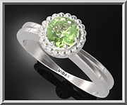 Floral Ring Jewelry - Green Peridot Sterling Silver Engagement Ring With Little Silver Balls by Roi Avidar