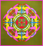 Symmetrical Design Prints - Green Pink Yellow Abstract Print by Barbara Snyder