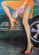 Legs Pastels Prints - Green Porsche Print by Mary Ann  Leitch