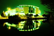 Michael Cross Framed Prints - Green Power- Autzen at night Framed Print by Michael Cross