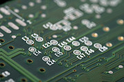 Printed Prints - Green printed circuit board closeup Print by Matthias Hauser