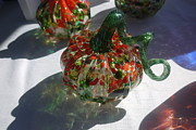 Hand Blown Glass Art Originals - Green Pumpkin by Alexis De Leon