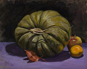 Gourds Paintings - Green Pumpkin with Friends by Billie Colson