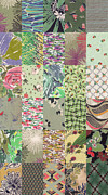 Folk  Tapestries - Textiles - Green Quilt Background by Yana Vergasova