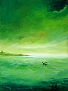 Cloudy Day Paintings - Green Reflection by Alicia Maury