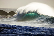 Waves Energy Framed Prints - Green Reward Framed Print by Sean Davey