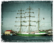 Pirate Ship Art - Green Sail by Perry Webster