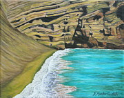 Interior Design Painting Posters - Green Sand Beach Poster by Kristine Mueller Griffith