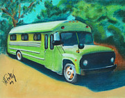 Muscle Pastels Framed Prints - Green School Bus Framed Print by Michael Foltz