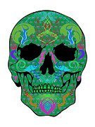 Scull Framed Prints Prints - Green Scull Print by Mauro Celotti