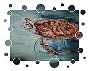Green Sea Turtle Paintings - Green Sea Turtle Bubbles by Brenda Thour