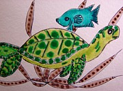 Green Sea Turtle Mixed Media - Green Sea Turtle by Daniel Goodwin